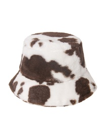 Fashion Dark Brown Cow Pattern Print Plush Fisherman Hat