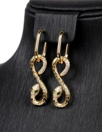 Fashion Serpentine Gold-plated Copper Pierced Earrings With Diamonds