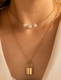 Fashion Golden Double Layer Necklace With Pearl Metal Lock Pendant
