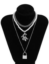 Fashion White K Chain Imitation Pearl And Diamond Dragon Pendant Multi-layer Necklace