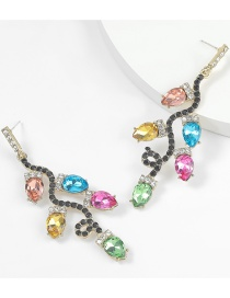 Fashion Color Alloy Diamond And Acrylic Flower Branch Alloy Earrings