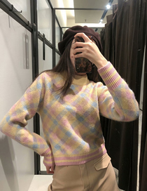 Fashion Color Mixing Geometric Diamond Knit Pullover Sweater