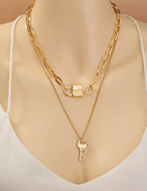 Fashion Golden Alloy Lock Key Double Layer Necklace