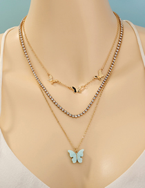 Fashion Golden Butterfly Pendant Diamond Alloy Multilayer Necklace
