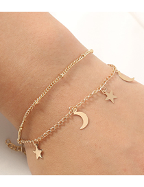 Fashion Golden Star And Moon Tassel Alloy Double Bracelet