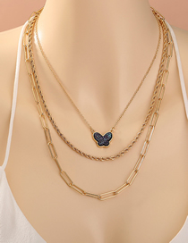 Fashion Golden Butterfly Crystal Cluster Alloy Multilayer Necklace