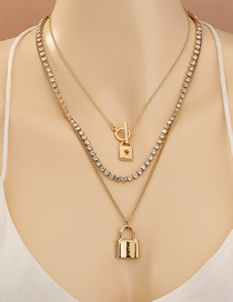 Fashion Golden Separable Multi-layer Necklace With Geometric Lock Pendant