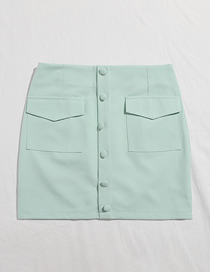 Fashion Puhe Green Single Breasted Solid Color Stitching Pocket Skirt