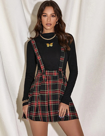 Fashion Red Grid On Black Strap Check Print Pleated Skirt
