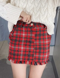 Fashion Red Fringed Plaid Pearl Button Skirt