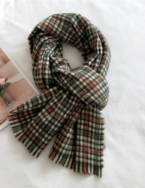 Fashion Two-color Stripes Green Orange Striped Thick Warm Knitted Shawl Scarf