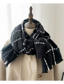 Fashion Dotted Grid Dotted Plaid Fringed Thick Scarf