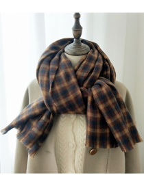 Fashion Striped Navy Brown Striped Thick Warm Double-sided Scarf Shawl