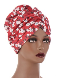 Fashion White Flowers On Red Background Hand Stitched Sponge Print Forehead Cross Bandana Hat