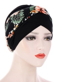 Fashion Black+flowers Printed Contrast Color Knotted Turban Hat