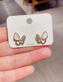 Fashion Golden Micro-set Zircon Natural Shell Butterfly Copper Gold-plated Earrings