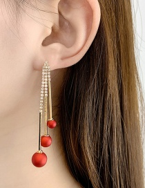 Fashion Matte Red Fringed Frosted Pearl Long Geometric Earrings