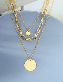 Fashion Golden Multilayer Necklace With Disc Alloy Pendant