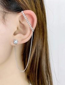 Fashion Silver Asymmetrical Ear Clip With Tassels And Diamonds