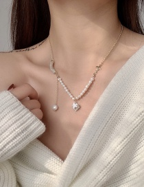 Fashion Golden Natural Pearl And Zircon Butterfly Necklace