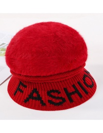 Fashion Red Rabbit Fur Brim Letter Ear Protection Solid Color Warm Knitted Basin Hat
