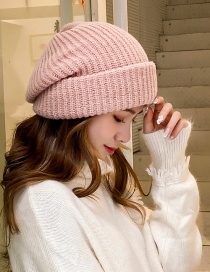 Fashion Pink Wide Brim Solid Color Curled Wool Knit Hat