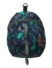 Fashion Blue Little Dinosaur Print Kids Backpack