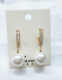 Fashion White Diamond Geometric Alloy Pearl Earrings