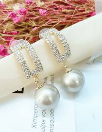 Fashion White Diamond And Pearl Pendant Geometric Alloy Stud Earrings