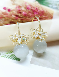 Fashion White Diamond Flower Pearl Alloy Earrings