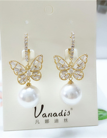 Fashion White Diamond Butterfly Alloy Pearl Earrings