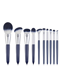 Fashion Bihai Set Of 10 Nylon Hair Wooden Handle Makeup Brushes