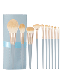 Fashion Blue Bridge 10 Wooden Handle Nylon Cloth Makeup Brush Set + Ribbon Bag