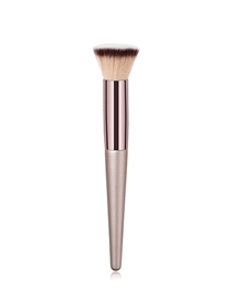 Fashion Champagne Gold Single Wooden Handle Nylon Hair Flat Head Makeup Brush