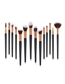 Fashion Black Gold Pvc-4 Wooden Handle Nylon Hair Makeup Brush Set