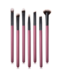 Fashion Maroon 7 Wooden Handle Nylon Hair Eye Makeup Brush Set