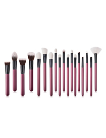 Fashion Maroon Set Of 18 Nylon Hair Makeup Brushes With Wooden Handle