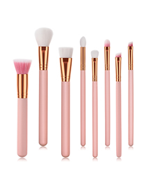 Fashion Pink Pvc8pcs Wooden Handle Aluminum Tube Nylon Hair Makeup Brush Set