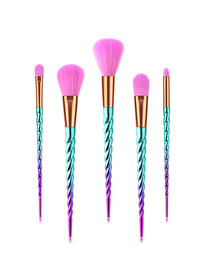 Fashion Pink Blue Gradient 5pcs Threaded Aluminum Tube Nylon Hair Makeup Brush Set