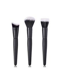 Fashion Black Black Pvc-nylon Hair Makeup Brush Set With Wooden Handle