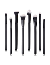 Fashion Black Black Pvc8pcs Wooden Handle Nylon Hair Makeup Brush Set