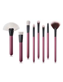 Fashion Maroon Pvc8pcs Wooden Handle Nylon Hair Size Fan-shaped Makeup Brush Set