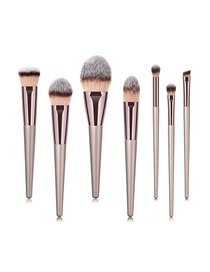 Fashion Champagne Gold Pvc7 Wooden Handle Nylon Hair Makeup Brush Set