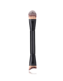 Fashion Black Pvc Single Wooden Handle Nylon Hair Double-head Makeup Brush