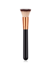 Fashion Black Gold Pvc Single Wooden Handle Nylon Hair Flat Head Makeup Brush
