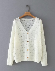 Fashion White V-neck Single-breasted Openwork Cardigan Knitted Sweater