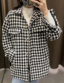 Fashion Black Houndstooth Single-breasted Woolen Woven Jacket