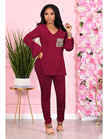 Fashion Wine Red Loose Long-sleeved V-neck T-shirt Straight Pants Suit