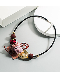 Fashion Pink Flower Resin Leather Cord Necklace