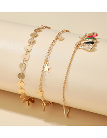 Fashion Golden 3-piece Set Of Five-pointed Star Anklet With Rhinestone Discs